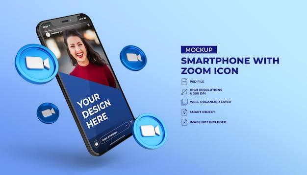 3d-zoom social media iconen met smartphone mockup voor mobiel scherm Premium Psd