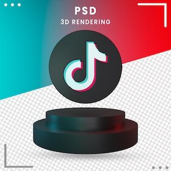 3d-zwarte gedraaid logo tiktok design rendering geïsoleerd