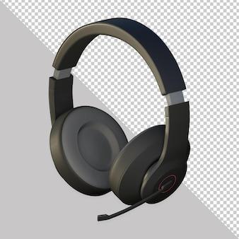 3d-zwarte hoofdtelefoon rendering ontwerp geïsoleerd