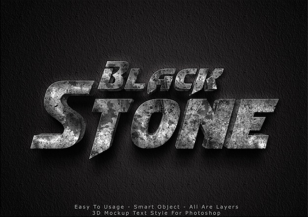 3d-zwarte steen mockup tekst stijl effect