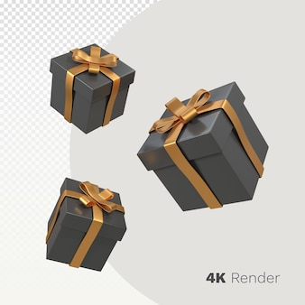 3d zwarte vrijdag geschenkdoos render