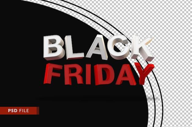 3d zwarte vrijdag-tekst voor mega-promotie-isolaat