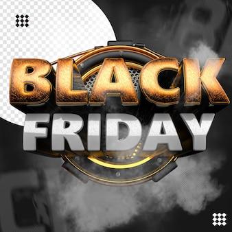 3d zwarte vrijdaglogo met cirkelvormig raster en texturenbasis