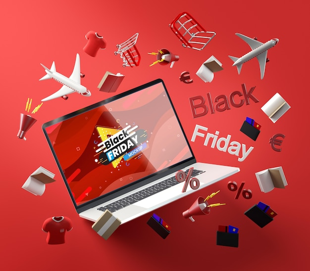 3d zwarte vrijdagtechnologie op rode achtergrond