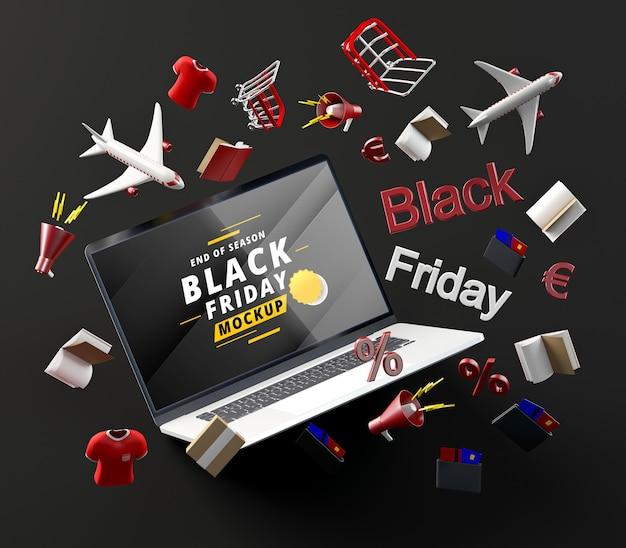 3d zwarte vrijdagtechnologie op zwarte achtergrond