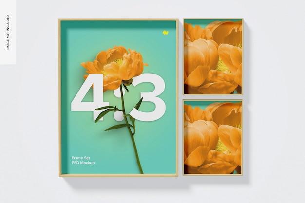 4: 3 frame set mockup, vooraanzicht