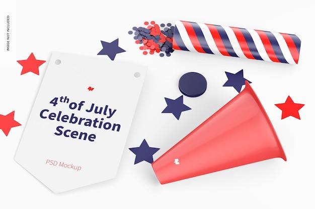 4 juli celebration scene mockup, bovenaanzicht