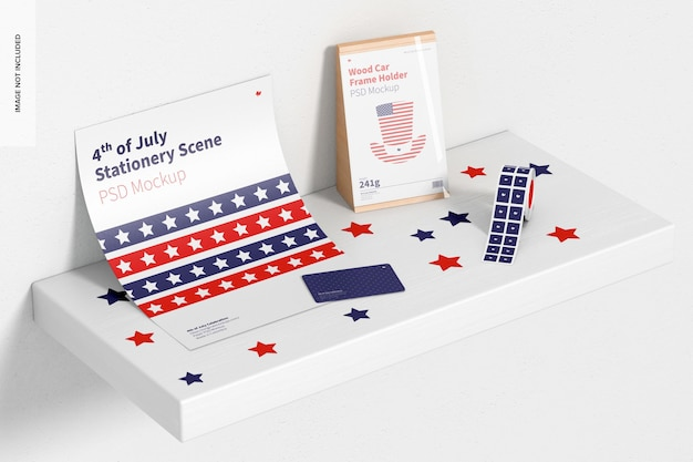 4 juli celebration stationery scene mockup