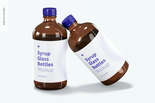 4 oz siroop glazen flessen mockup