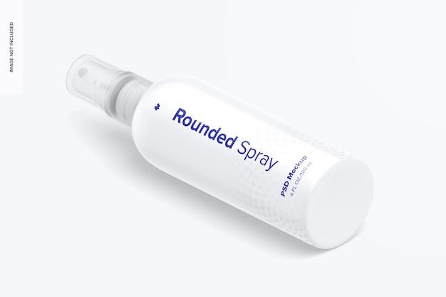 4 oz spray afgerond mockup isometrische rechteraanzicht