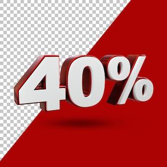 40% aanbieding label 3d-rendering geïsoleerd
