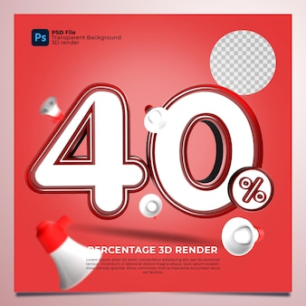 40 percentage 3d render rode kleur met elementen