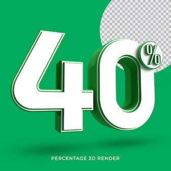40 procent 3d render groene kleur
