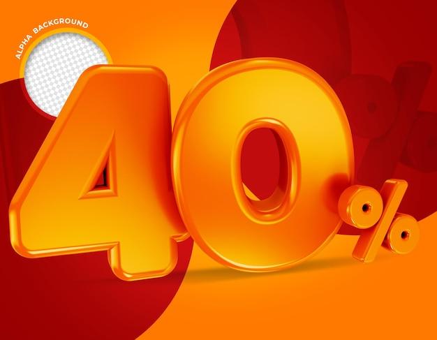 40 procent aanbieding label 3d-rendering geïsoleerd