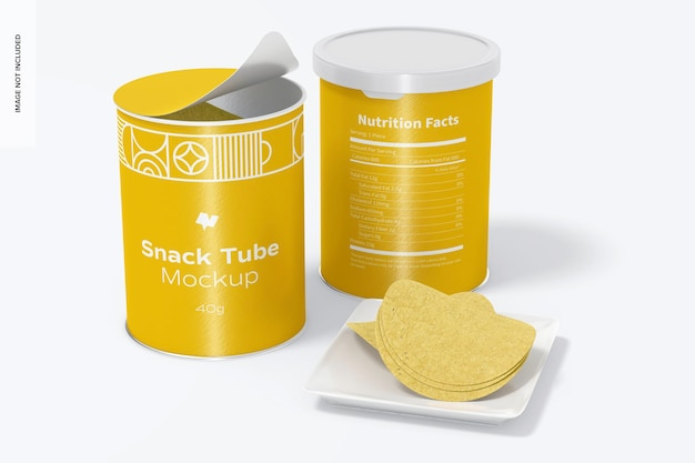 40g snack tube mockup, geopend en gesloten