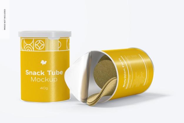 40g snack tube mockup, laten vallen