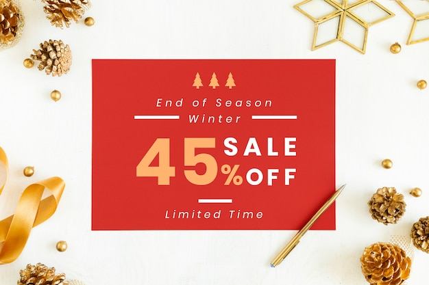 45% di mockup di segno di vendita di natale