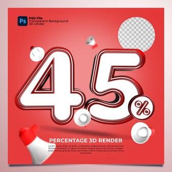 45 percentage 3d render rode kleur met elementen