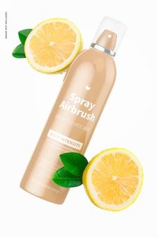 5.3 oz spray airbrush bronzer bottle mockup, falling