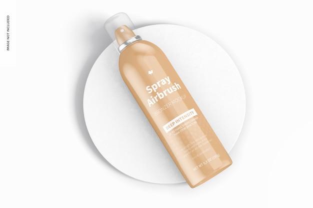 5.3 oz spray airbrush bronzer fles mockup, bovenaanzicht