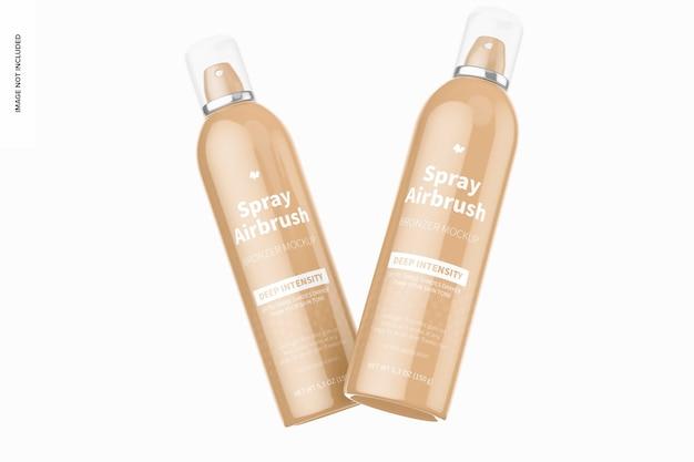 5.3 oz spray airbrush bronzer flessen mockup, drijvend