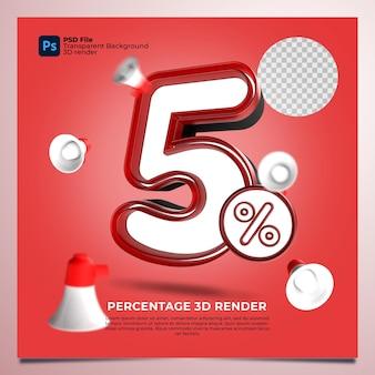 5 percentage 3d render rode kleur met elementen