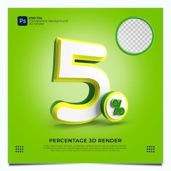 5 porcentaje 3d render greenyellowwhite colores con elementos