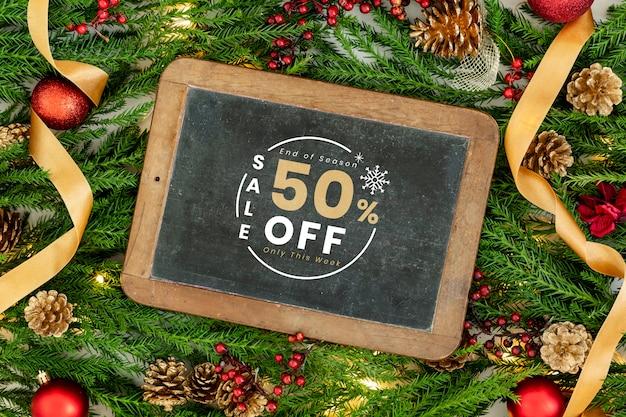 50% kerstmis verkoop teken mockup