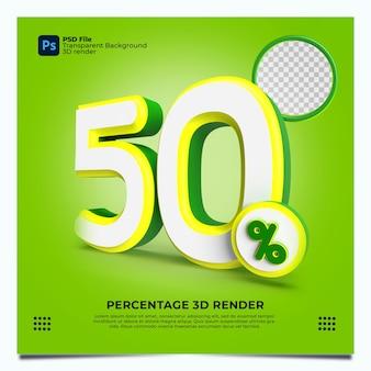 50 porcentaje 3d render greenyellowwhite colores con elementos
