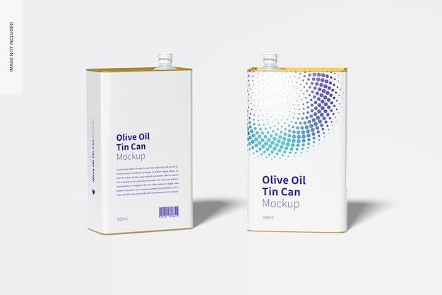 500 ml olijfolie rechthoekige blikken mockup