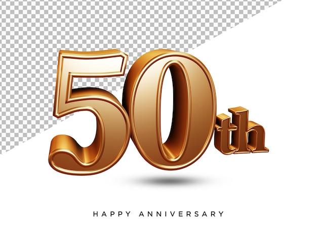 50ste verjaardag 3d-rendering geïsoleerd