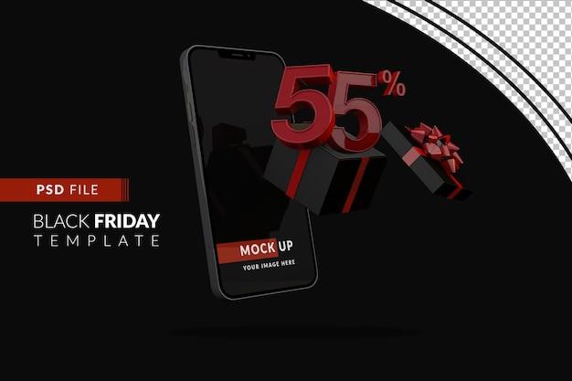 55 procent black friday-promotie met smartphonemodel en zwarte geschenkdoos