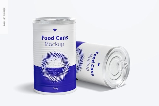 580 g voedsel kan mockup, laten vallen