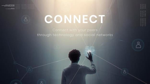 5g tecnología de red global plantilla psd presentación futurista