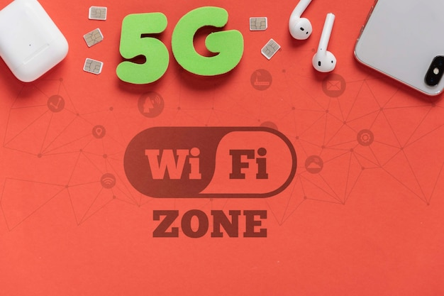 5g wifi-verbinding online mock-up