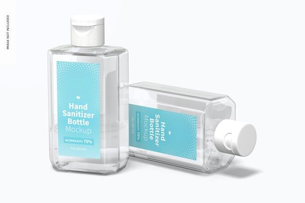 60 ml handdesinfectieflessen mockup, perspectief