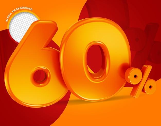 60 procent aanbieding label 3d-rendering geïsoleerd