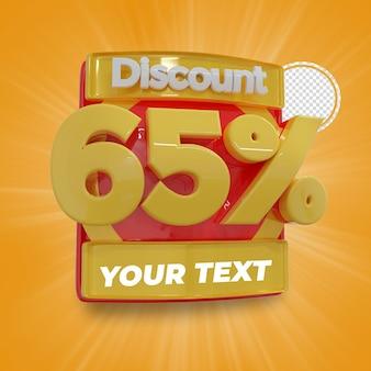 65 procent korting 3d tekstweergave illustratie