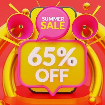 65 procent korting op promotionele zomeruitverkoop bannersjabloon