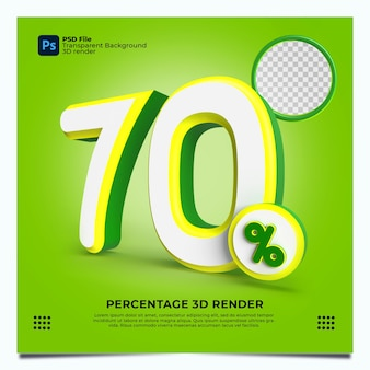 70 porcentaje 3d render greenyellowwhite colores con elementos