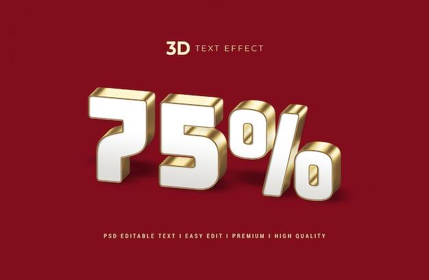 75% maqueta de efecto de estilo de texto en 3d