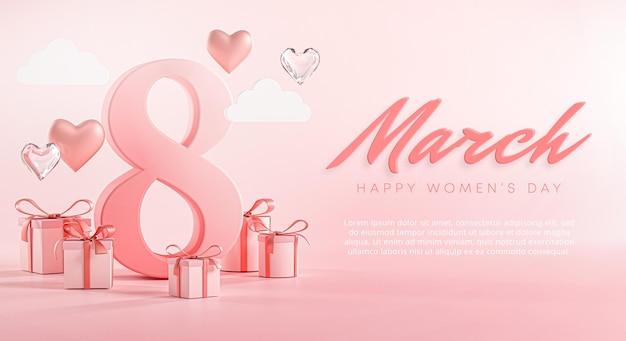 8 maart happy women's day love heart banner