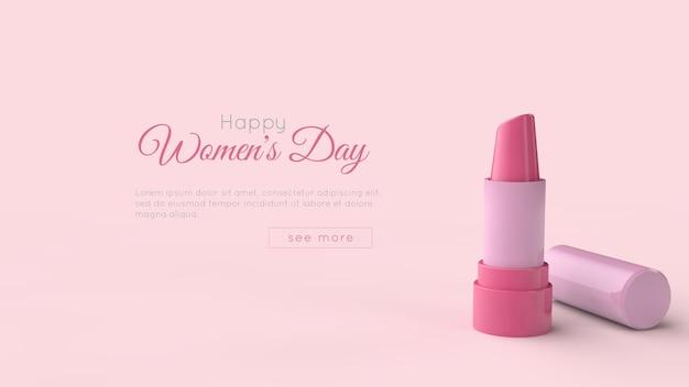 8 maart internationale vrouwendag 3d-rendering sjabloon