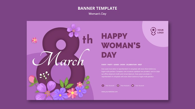 8 de marzo plantilla de banner del día de la mujer