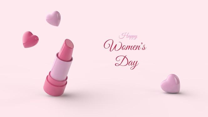 8 de marzo plantilla de representación 3d del día internacional de la mujer