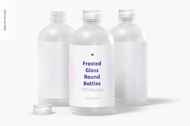 8 oz matglazen ronde flessen mockup, vooraanzicht
