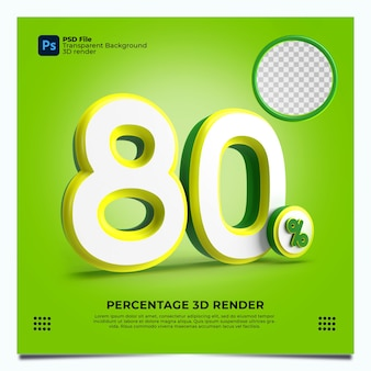 80 porcentaje 3d render greenyellowwhite colores con elementos