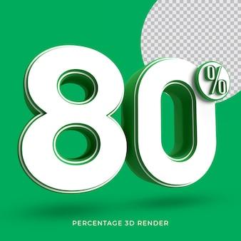 80 procent 3d render groene kleur