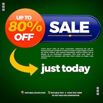 80 procent korting op verkoopbanner met 3d-element voor samenstelling