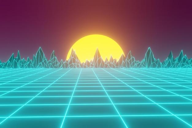 80-stijl achtergrond met neonlicht
